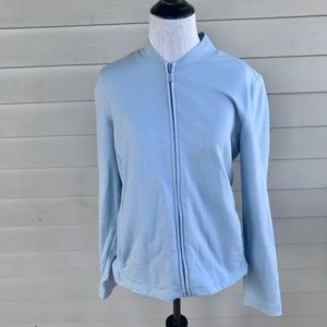 Eileen Fisher Pale Blue Track Jacket  Cardigan